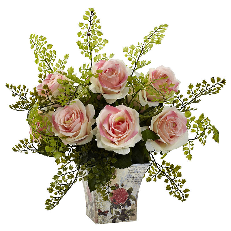 Nearly Natural Rose And Maiden Hair With Floral Planter – Asstd National Brand – Floral Arrangements – Pink – Light Pink