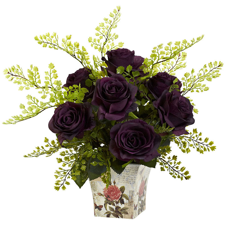 Nearly Natural Rose and Maiden Hair With Floral Planter – Home Accents – Floral Arrangements – Purple | At JC Penney