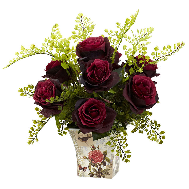Nearly Natural Rose And Maiden Hair With Floral Planter – Asstd National Brand – Floral Arrangements – Red – Burgundy