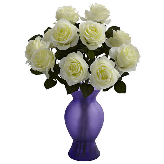 Nearly Natural Roses With Colored Glass Vase