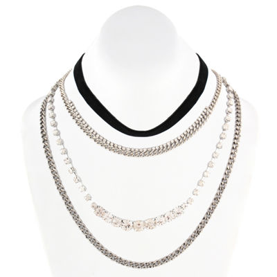 Decree Womens Clear Round Choker Necklace