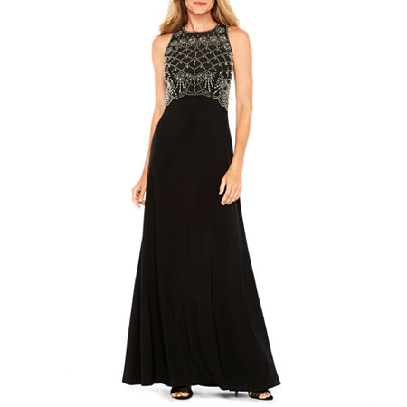 Vintage Evening Dresses and Formal Evening Gowns Jackie Jon Sleeveless Beaded Bodice Formal Gown 4  Black $53.99 AT vintagedancer.com