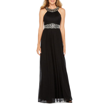One by Eight Sleeveless Beaded Halter Evening Gown