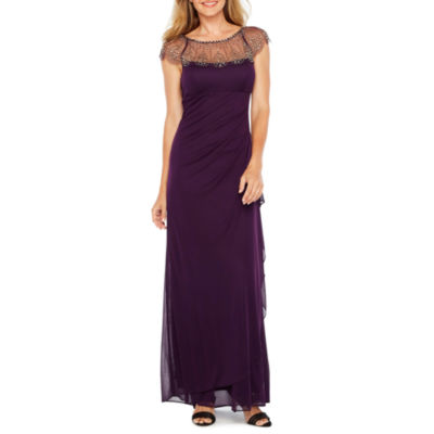 DJ Jaz Short Sleeve Beaded Evening Gown