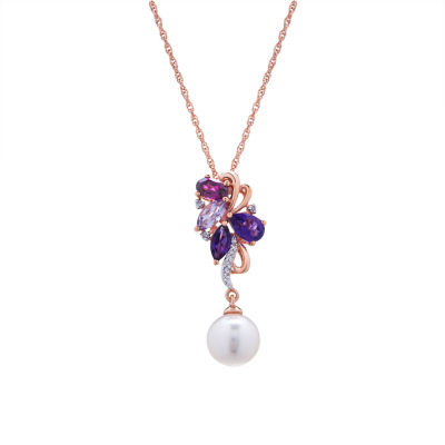 Womens Diamond Accent Purple Amethyst 14K Gold Over Silver Pendant Necklace