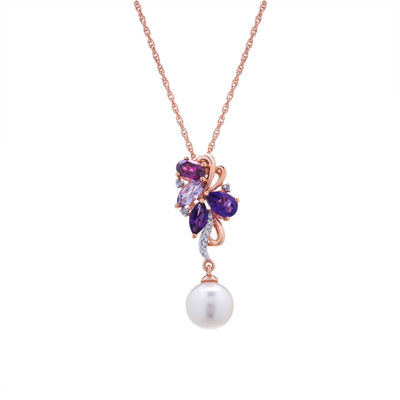 Womens Diamond Accent Genuine Purple Amethyst Cultured Freshwater Pearl 14K Gold Over Silver Pendant Necklace