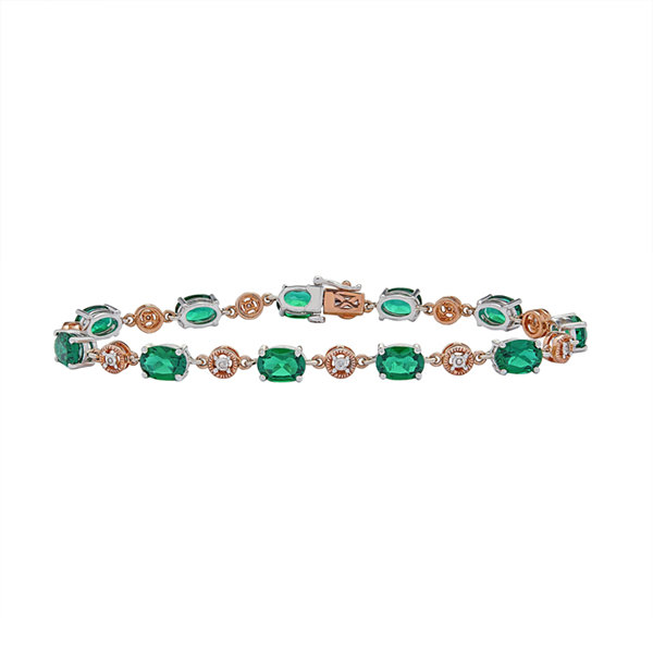 Womens Diamond Accent Green Emerald 10K Gold Sterling Silver Tennis Bracelet