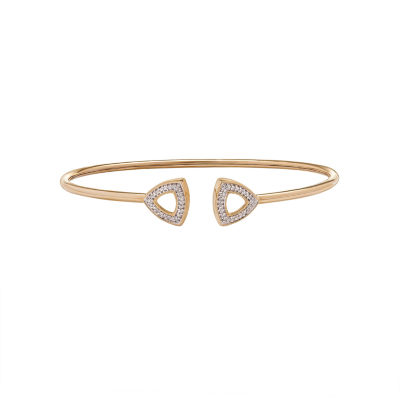 1/10 CT. T.W. Genuine White Diamond 10K Gold Bangle Bracelet