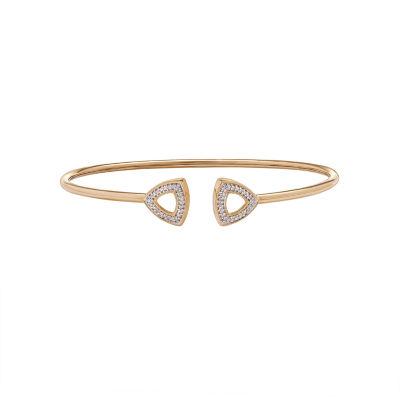 Womens 1/10 CT. T.W. White Diamond 10K Gold Bangle Bracelet