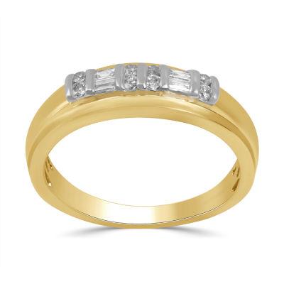 Mens 1/4 CT. T.W. Genuine White Diamond 10K Gold Band