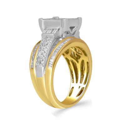 Womens 2 CT. T.W. Baguette Diamond 10K Gold Engagement Ring