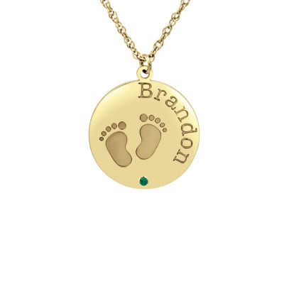 Womens Personalized 14K Gold Pendant Necklace