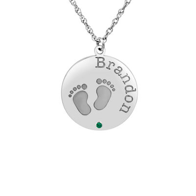 Womens Personalized Sterling Silver Pendant Necklace
