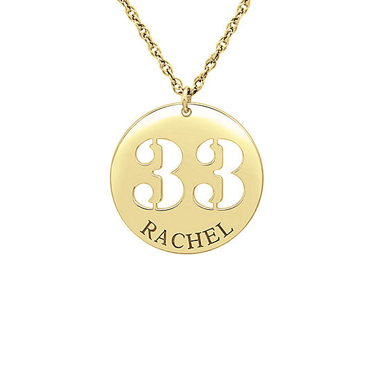 Womens Personalized 24K Gold Over Silver Pendant Necklace