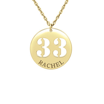Womens Personalized 14K Gold Over Silver Pendant Necklace