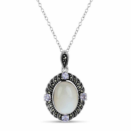 Sterling Silver Oval Pendant Necklace featuring Swarovski Genuine Marcasite