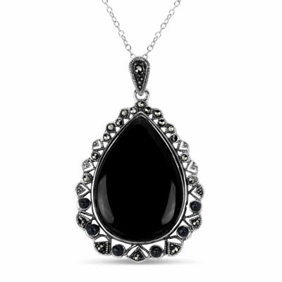 Swarovski Womens Genuine Black Marcasite Sterling Silver Pear Pendant Necklace