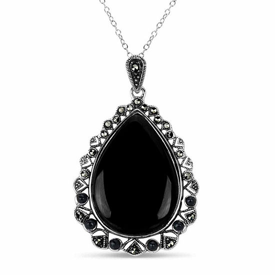 Womens Genuine Black Marcasite Sterling Silver Pear Pendant Necklace