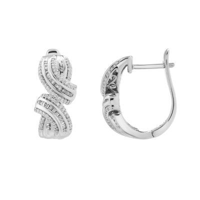 1/2 CT. T.W. Genuine White Diamond Sterling Silver Hoop Earrings