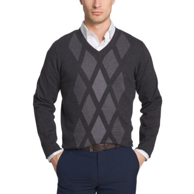 Van Heusen Argyle Novelty Vneck Sweater V Neck Long Sleeve Pullover Sweater