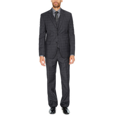 Stafford Travel Stretch Charcoal Plaid Suit Separates-Classic
