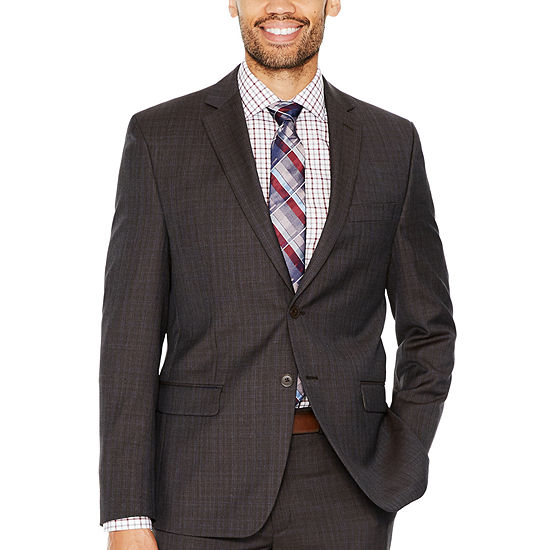 Collection by Michael Strahan  Brown Plaid Classic Fit Suit Jacket