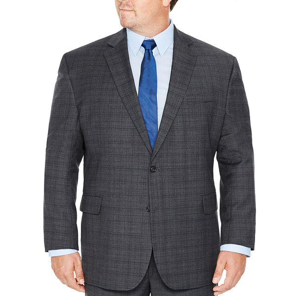 Stafford Mens Plaid Classic Fit Suit Jacket-Big and Tall