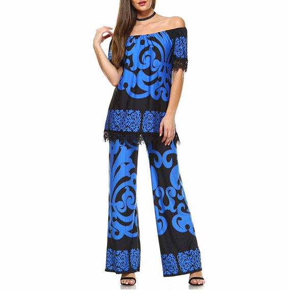 White Mark Print From Tip To Toe Set 2-pc. Pattern Pant Set