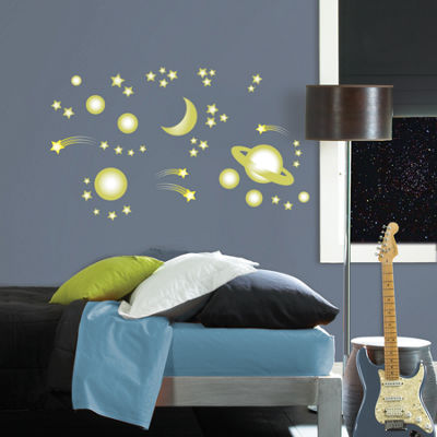 Brewster Wall Outer Space Glow In The Dark Wall Art Kit Wall Decal