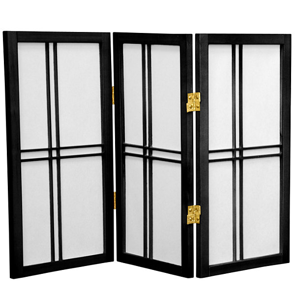 Oriental Furniture 2' Double Cross Shoji 3 Panel Room Divider