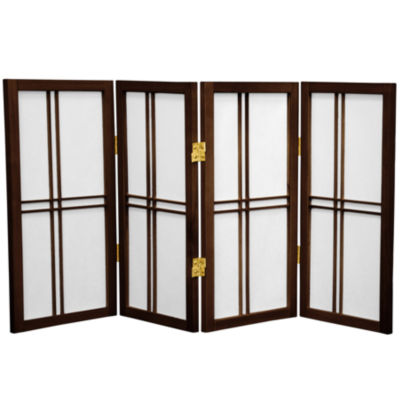 Oriental Furniture 2' Double Cross Shoji 4 Panel Room Divider