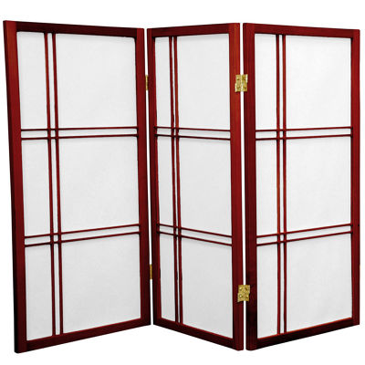 Oriental Furniture 3' Double Cross Shoji 3 Panel Room Divider