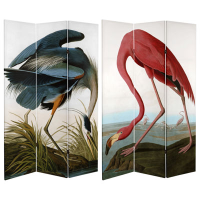 Oriental Furniture 6' Audubon Heron And Flamingo Room Divider