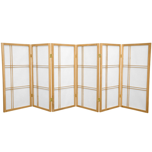 Oriental Furniture 3' Double Cross Shoji 6 Panel Room Divider