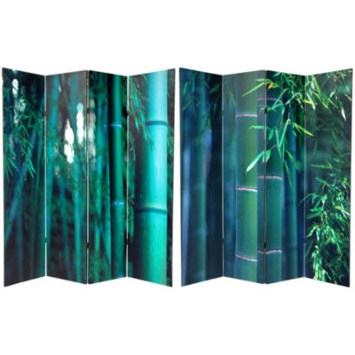 Oriental Furniture 6' Bamboo Tree Canvas 4 Panel Room Divider