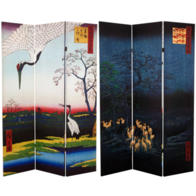 Oriental Furniture 6' Hiroshige Cranes Fox Fire Room Divider