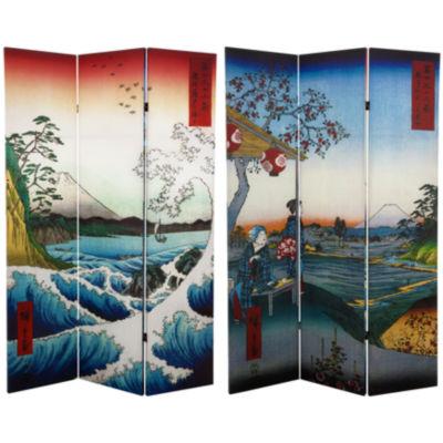 Oriental Furniture 6' Hiroshige Sea At Satta RoomDivider
