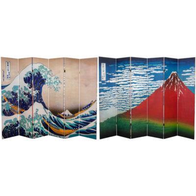 Oriental Furniture 6' Hiroshige Great Wave Red Fuji Room Divider