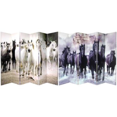 Oriental Furniture 6' Horses 6 Panel Room Divider