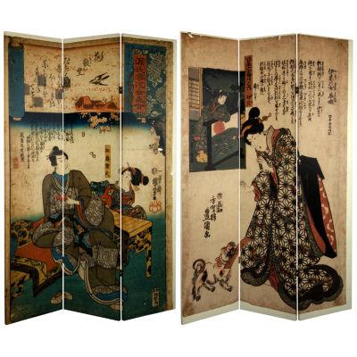 Oriental Furniture 6' Japanese Figures Room Divider