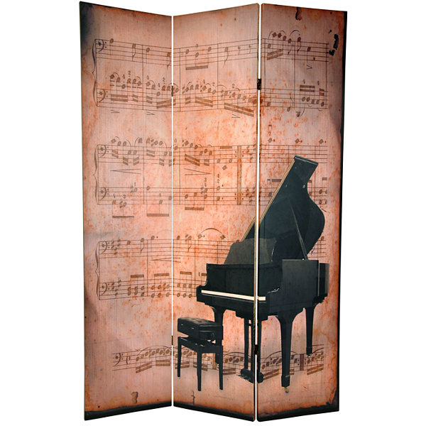 Oriental Furniture 6' Music Piano And Phonograph Room Divider