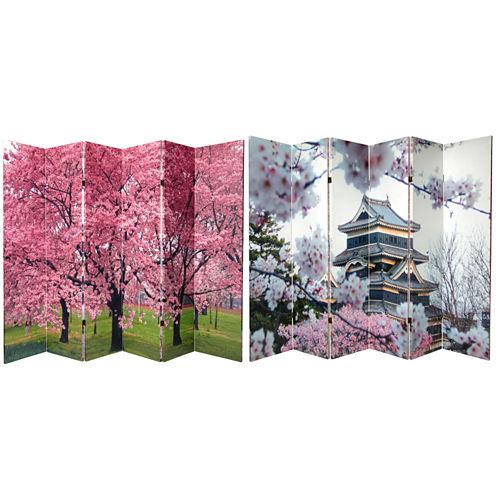 Oriental Furniture 6' Cherry Blossoms Room Divider