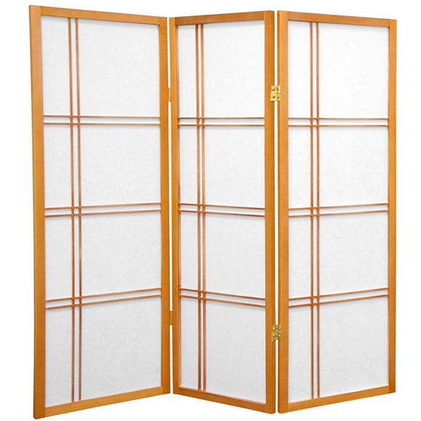 Oriental Furniture 4' Double Cross Shoji 3 Panel Room Divider