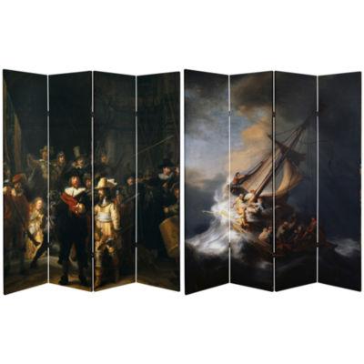 Oriental Furniture 6' Works Of Rembrandt Room Divider