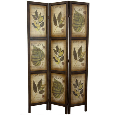 Oriental Furniture 6' Botanic Printed Wood 3 PanelRoom Divider