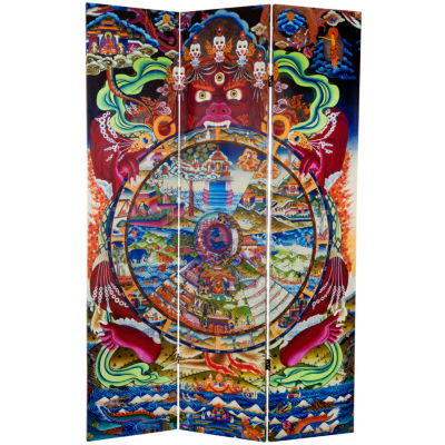 Oriental Furniture 6' Wheel Of Life Room Divider