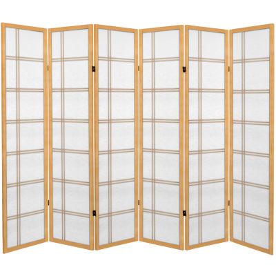 Oriental Furniture 6' Double Cross 6 Panel Room Divider