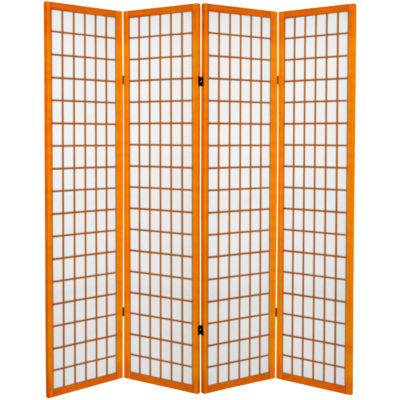 Oriental Furniture 6' Window Pane 4 Panel Room Divider