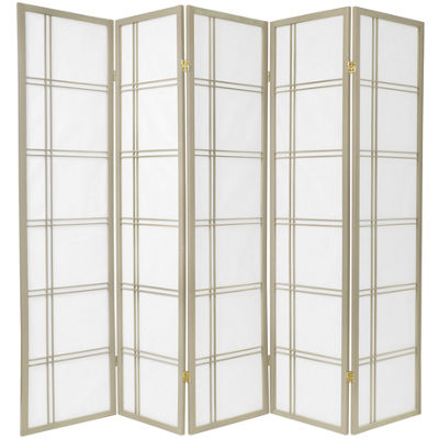 Oriental Furniture 6' Double Cross Shoji Special Edition 5 Panel Room Divider
