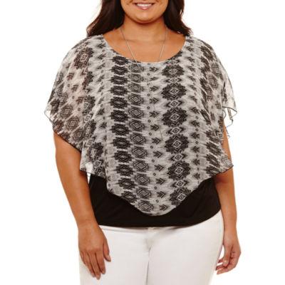 Alyx Short Sleeve Round Neck Knit Blouse-Plus